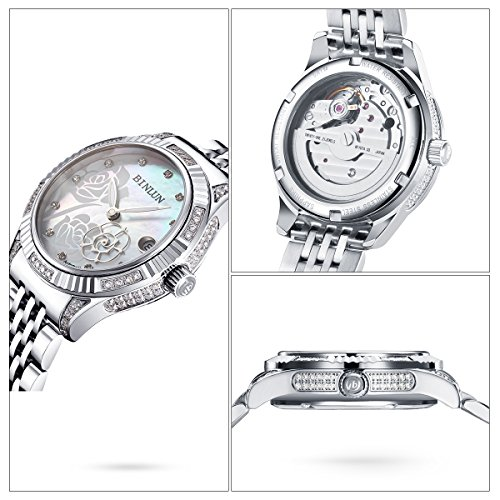 binlun 18 K chapado en oro de relojes para mujeres impermeable Lujo vestido reloj de pulsera (Mujer), color plateado: Amazon.es: Relojes