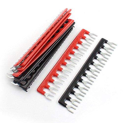 10 Pcs Fork Type 12 Postions Terminal Strip Jumper Black+Red 400V 10A