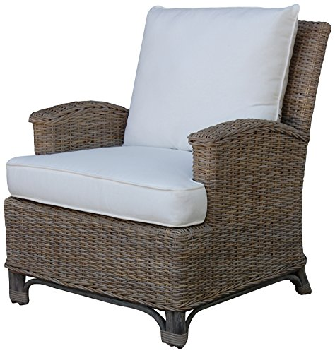 Panama Jack Sunrooms PJS-3001-KBU-LC Exuma Lounge Chair with Cushion, Sunbrella Blox Slate