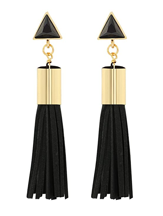 KristLand - S925 Silver Earpins Fashion Gold Tone Elegant Crystal Triangle Drop Leather Tassel Pendant Stud Earrings S925 Silver Earpins Black-2
