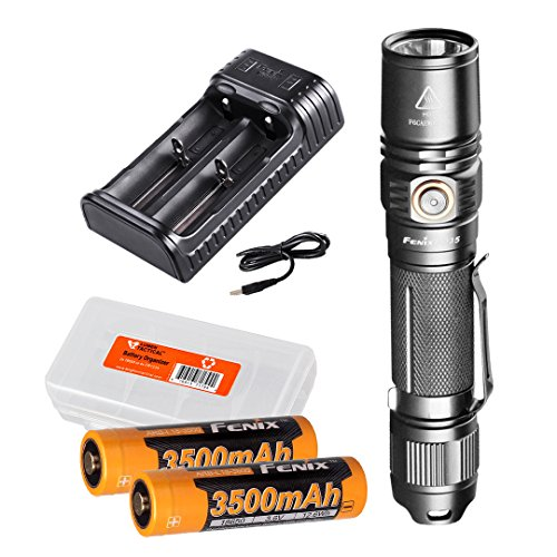 Fenix PD35 Version 2 2018 Upgrade 1000 Lumen Flashlight w/ 2X 3500mAh Rechargeable Batteries, are-X2 Charger and LumenTac Battery Organizer