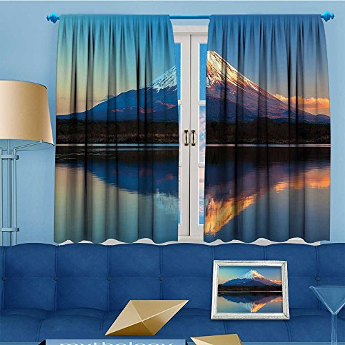 Mikihome Design Print Grommet top Thermal Insulated The Far East Mount Fuji Shoji Clear Sky Print White Linen Room Darkening Curtains 55