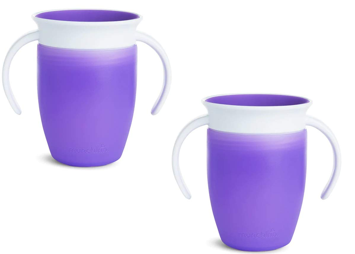 New Color Munchkin Miracle 360 Trainer Cup Purple//Purple 2 Count