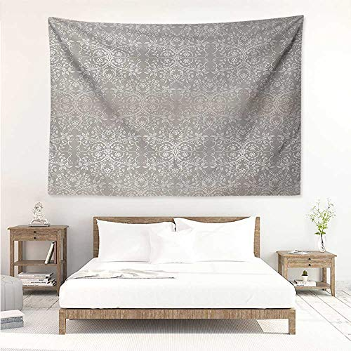 alisos Grey,Bedding Tapestry Victorian Lace Flowers and Leaves Retro Background Old Fashioned Graphic Print 93W x 70L Inch Bedspread Picnic Warm Taupe Beige