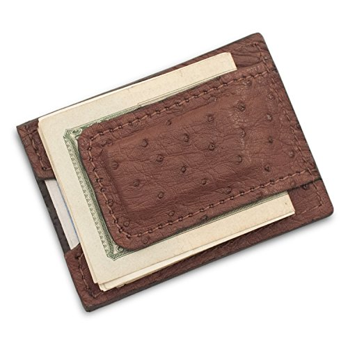 Ostrich Money Clip - Handmade Genuine Brown Ostrich Leather Magnetic Money Clip Wallet