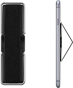 AOLEY Elastic Finger Holder for Phones, Cell Phone Grip | Phone Handle | Finger Strap with Stand for iPhone Android Smartphone Small Tablet (Black)