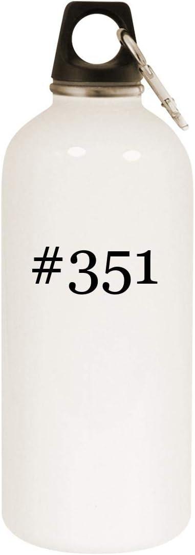 #351-20Oz Hashtag Stainless Steel White Water Bottle mit Carabiner, White