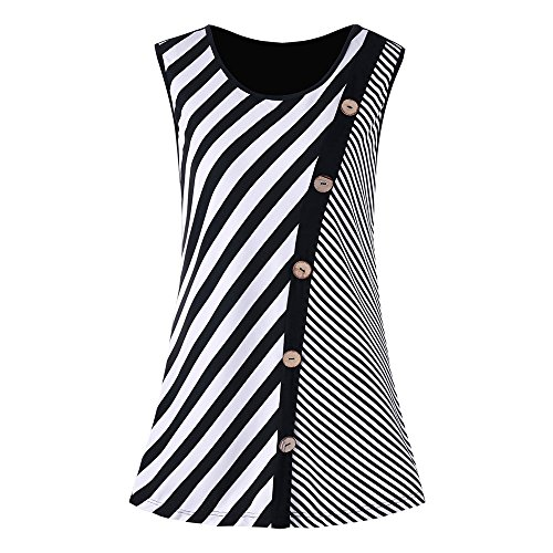 Littleice Women's Casual Tank Tops Ladies Girls Sexy Striped Patchwork Button Embellished Blouse Shirts (S) (Embellished Striped)