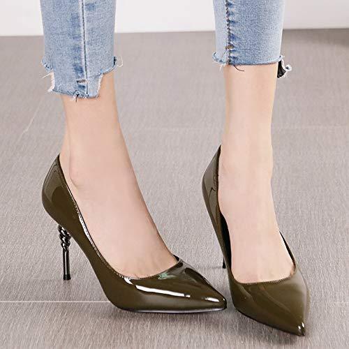 HRCxue Pumps Pumps Pumps Mode Spitze Metall Stiletto Heels Frauen schwarz Lackleder flachen Mund Schuhe, 37, grün b1ad2d