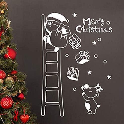 pegatina de pared 3d Nueva Navidad Papá Noel Escalera Escalera Adorno de ventana de vidrio Regalo Casa para sala de estar: Amazon.es: Bricolaje y herramientas