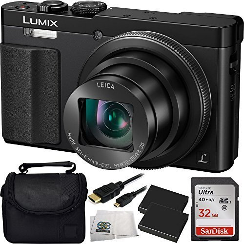 (Panasonic DMC-ZS50K LUMIX 30X Travel Zoom Camera with Eye Viewfinder (Black) + 32GB Accessory Kit)