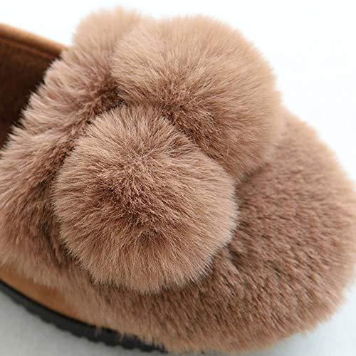 Belle Automne Boule Ballon D'hiver Épais Brown Air Plein Non Chaussures Garder En Td Et De Chaud Femme dérapant Pantoufles Enceinte Intérieur Femelle À Maison Au La Fond Coton qYgRf1