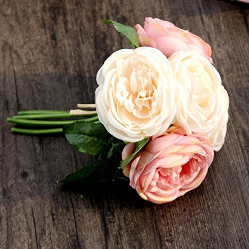 Susun Artificial Rose Silk Flowers 5 Flower Head Leaf Garden Decor DIY Pink