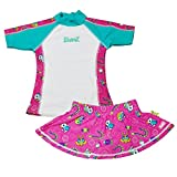 Baby Banz Baby Toddler Girls' Rash Guard and Board Shorts Set, Cool Gardie Pink, 2