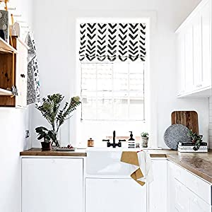 KARUILU home Quick Fix Washable Roman Window Shades Flat Fold , Black and White Pattern (40W x 63H, Inkflow)
