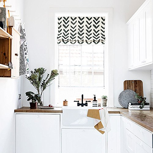 KARUILU home Quick Fix Washable Roman Window Shades Flat Fold , Black and White Pattern (40W x 63H, - In Diego San Macy