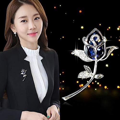 - POLPEP sweet pearl opal crystal diamond flower brooch lapel pin badge buckle special corsage jewelry scarf collar (deep blue (brooch 004)