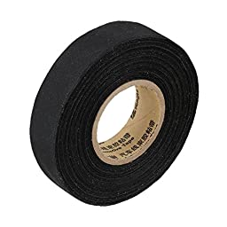 BQLZR Black 19mm Width Adhesive Cloth Wiring Loom Harness Insulating Tape 25m For Engine Compartment Interior Use