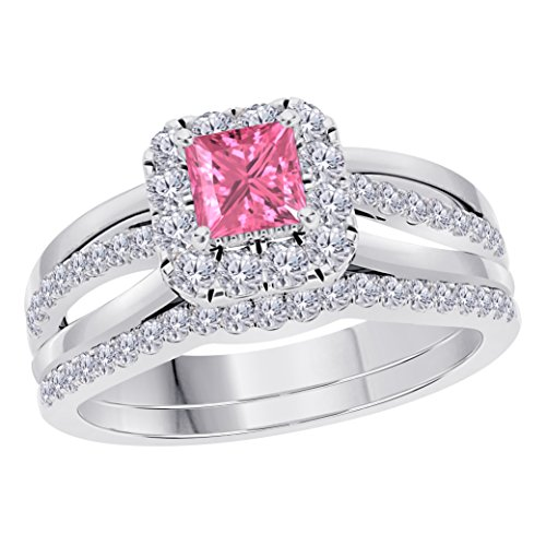 Pink Sapphire Ring Princess (Jewelryhub 2CT Princess Cut Cz Pink Sapphire 925 Sterling Silver Wedding Bridal Set Split Shank Halo Engagement Ring Set Size 4-12)