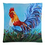 Charming Frame - Beautiful Rooster Art Design Cushion Pillow Case,Twin Sides Zippered Pillowcase Pillow Cover 18x18 inches