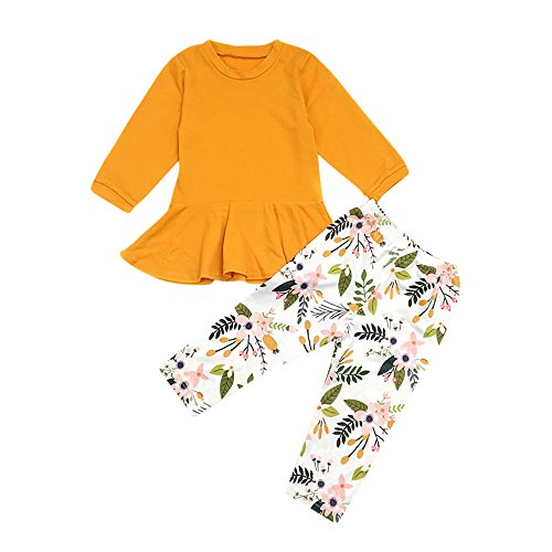 Fall Winter Clothes Set MITIY Cotton Long Sleeve Letter Print T-Shirt Tops+Pants Toddler 2Y-6Y (Yellow, 3T) ()