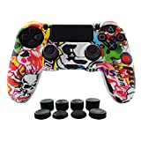 Hikfly Silicone Gel Controller Cover Kits for Sony Playstation 4 PS4/PS4 Slim/PS4 Pro Controller Video Games(1x Controller cover with 8 x FPS Pro Thumb Grip Caps)(White Cartoon)