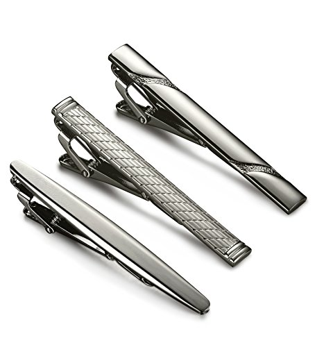 Jstyle 3 Pcs Tie Clips for Men Tie Bar Clip Set for Regular Ties Necktie Wedding Business