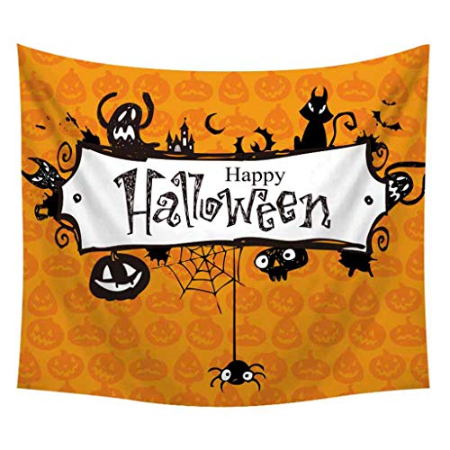 Halloween Horror Nights 4 Map (Kiminana Halloween Tapestry Pumpkin Tree Print Wall Hanging Tapestry Artist House Decoration Nightly Spooky Forest Orange Night Home Decor Tapestries for Bedroom)