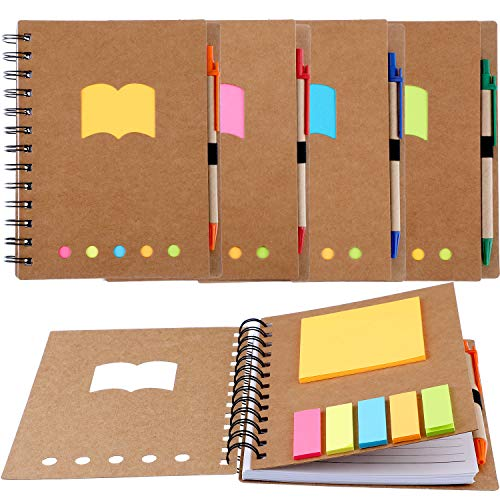 Post Spiral Notebook - Gejoy 4 Pieces Spiral Notebook Steno Business Notepad with Pen in Holder and Sticky Notes Index Tabs Page Markers for School Office, 17.8 by 13.5 cm, 280 Sheets Totally, Kraft Cover