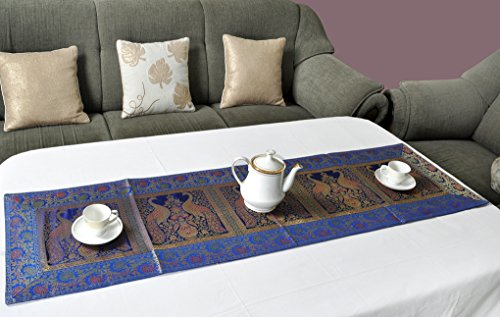 Lalhaveli Blue Color Peacock Work Silk Wedding Table Runner 60 X 16 Inches ()