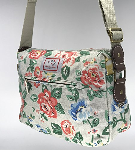 Design Bag Grey Casual small Flower Satchel London® Stylish Girl Amelia canvas messenger amp; for All Floral Vintage shoulder Rose lady Crossbody women pqw1rpOzx