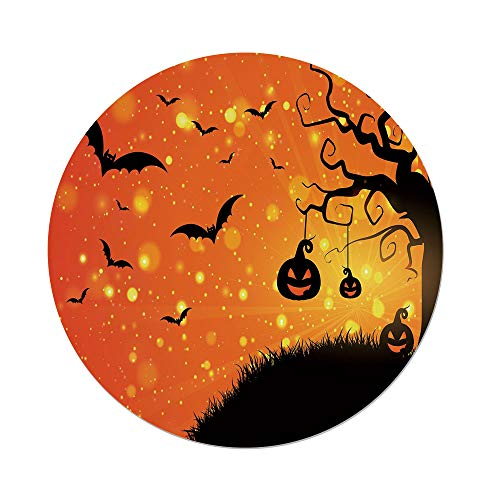 Polyester Round Tablecloth,Halloween,Magical Fantastic Evil Night Icons Swirled Branches Haunted Forest Hill Decorative,Orange Yellow Black,Dining Room Kitchen Picnic Table Cloth Cover,for Outdoor In ()