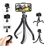 Flexible Phone Tripod,Portable and Adjustable Camera Stand Holder with Wireless Remote and Universal