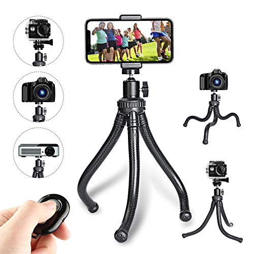 Leypin Flexible Phone Tripod,Portable and Adjustable Camera Stand Holder with Wireless Remote and Universal Clip 360??Rotating Suitable for iPhone, Android Phone, Camera, Sports Camera GoPro