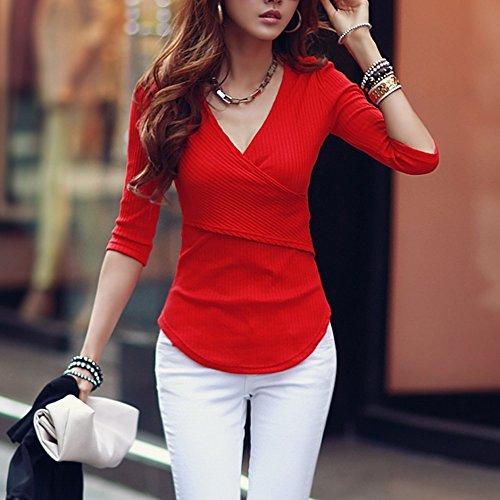 pour shirt T Longues Sfit Tops Printemps Femme Slim Manches Rouge Casual Pull Automne Tops IYwffxvqt