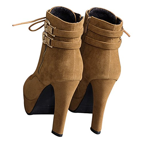 966138711 Susanny Womens Sexy Martin Boots Platform Chunky High Heels Ankle Booties  Lace Up Zipper Autumn Winter