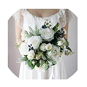 WodCht Beautiful Hot Wedding Bouquet Succulent Plants Green Artificial Bridal Bouquets Women Bouquet 50