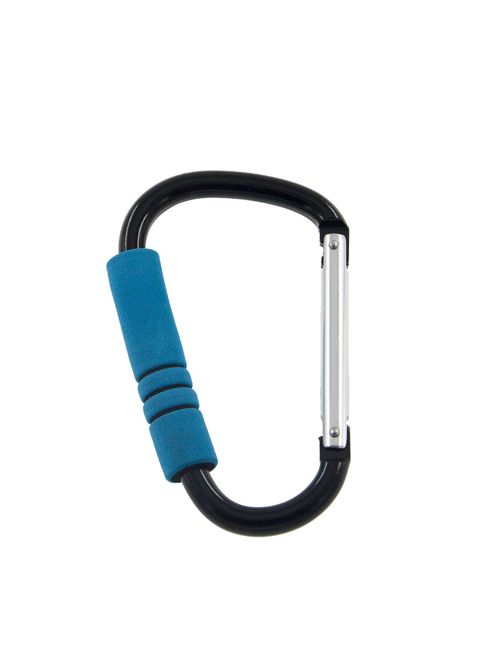 Snowmanna-1PC XL Carabiner with Thickening Colorful Sponge Mummy Buggy Clips Shopping Buckle Pushchair Pram Hook for Baby Stroller, Diaper Bags, Roller Shoes,Toys Plus Free Bonus Keyrings(Blue)