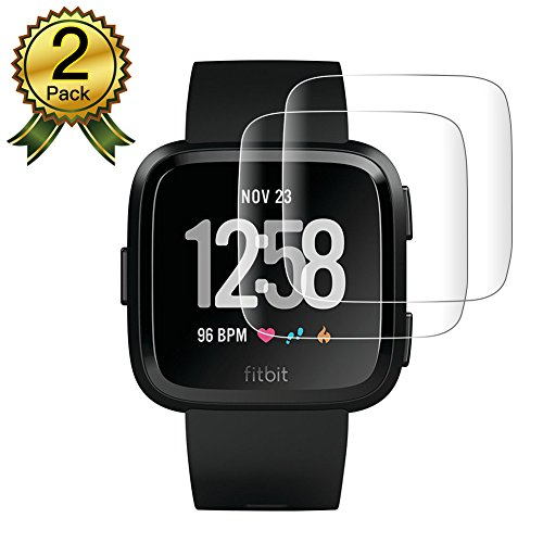 ScreenProtector for FitbitVersa[Pack-2], AUNEOS Soft Protector Film for FitbitVersa [Self Adsorption] [HD Clear] Flexible TPU Screen Cover for FitbitVersa Smart Watch (Clear, 2Pack) by AUNEOS