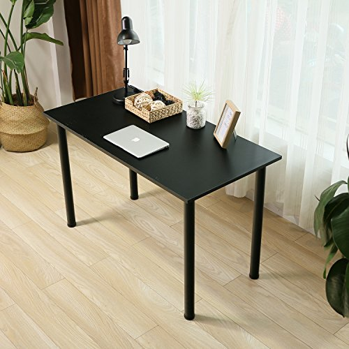 Eyabuynar Computer Table Writing Desk Workstation Office Desk (47x23.6 inch, Black + Black leg) by Eyabuynar