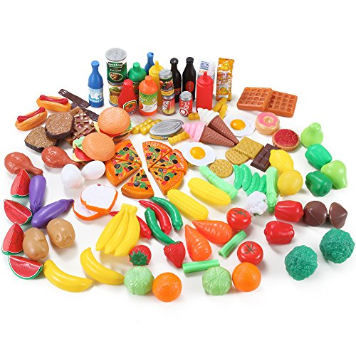 Plastic Food Fake (Liberty Imports 120 Piece Deluxe Pretend Play Food Assortment Set)