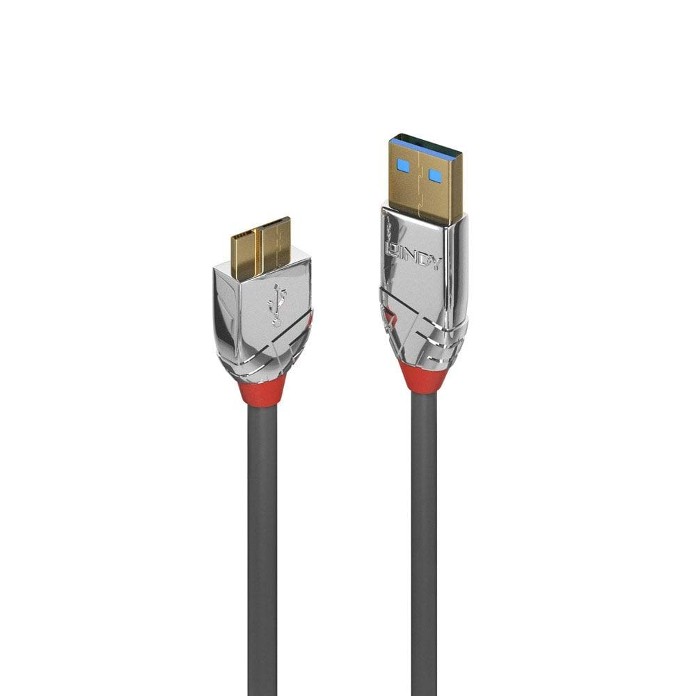 1m Grey Cromo Line LINDY 36657 USB 3.0 Type A to Micro-B Cable