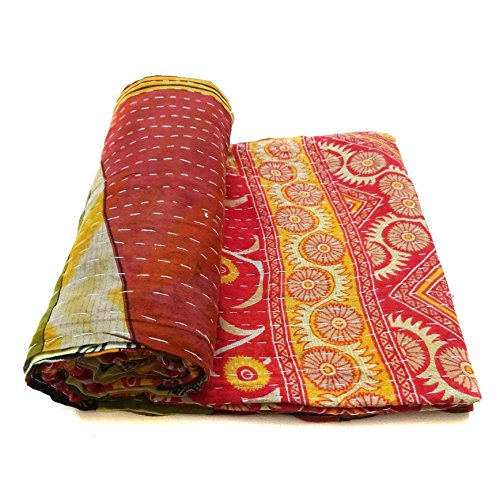 Vintage Kantha Quilt Embroidered Indian Cotton Home Decor Blanket Bedding Ralli