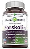 Amazing Nutrition 250 Mg 120 Capsules – 100% Pure Forskolin Extract – Standardized To 20% Yielding 50 Mg Of Active Forskolin Per Capsule * – Supports Healthy Weight Management,