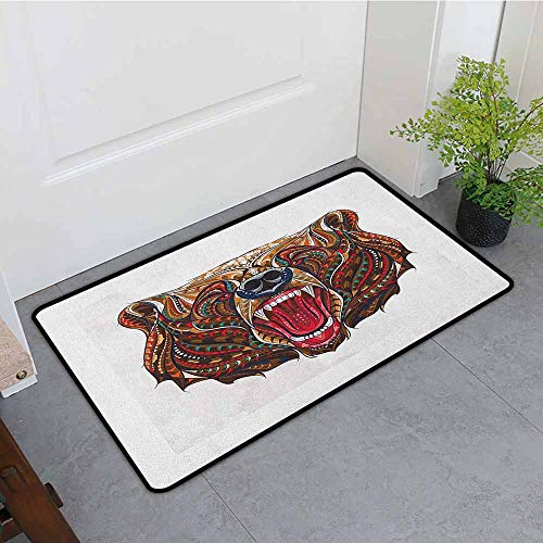 Anhounine Bear Latex Backing Non Slip Door Mat Patterned Head of Wild Predator Growling African Eastern Motifs Ethnic Ornaments Easy to Clean W23 x L35 Brown Red Blue