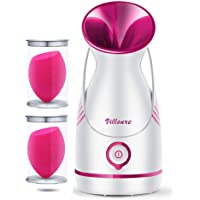 Warm Mist Facial Steamer, Villsure Nano Ionic Moisturizing Face Steamer for Facial, Skin Care Home Facial Spa Steamer…