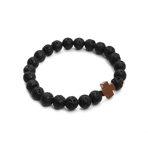 Amazon.com: 2016 New 8mm Natural Lava Stone Beaded Bracelet ...