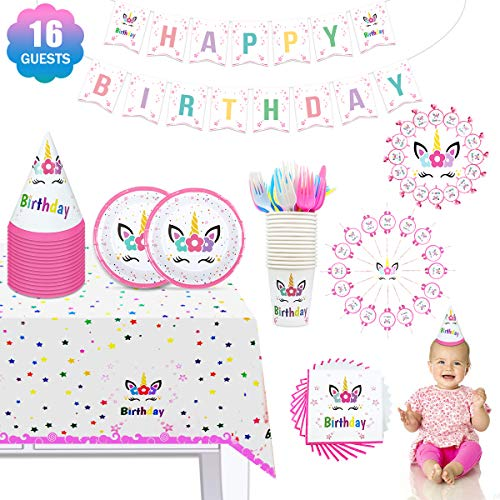 (ONE PHOENIX Unicorn Party Supplies Set, Magical Birthday Decorations Includes Cute Plates, Knife, Cups, Napkins, Tablecloth, Banner, Pink Blowouts, Hats - 118 Pcs for Girls 16 Serves)