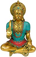 Lord Hanuman (Lord Rama Depicted in His Heart) - Brass Statue with inlay