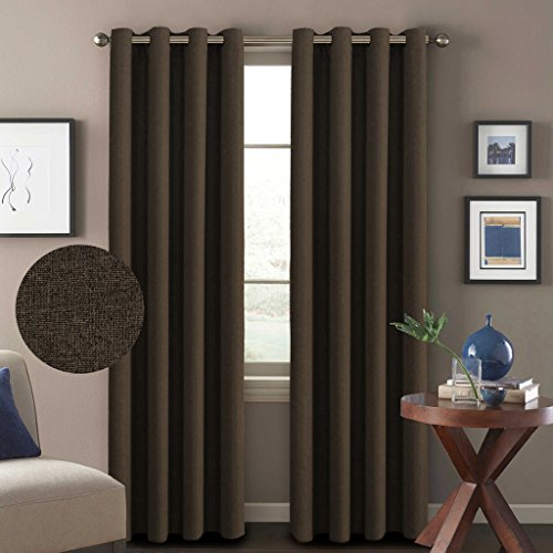 H.Versailtex (Set of 2) Classical Grommet Thermal Insulated Heavy Weight Textured Tiny Plaid Linen Like Innovated 85% Blackout Living Room Curtains,52x96-Inch-Brown